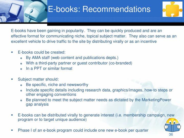 E-books: Recommendations