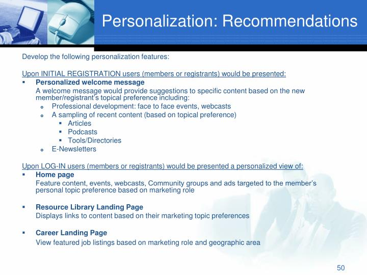 Personalization: Recommendations