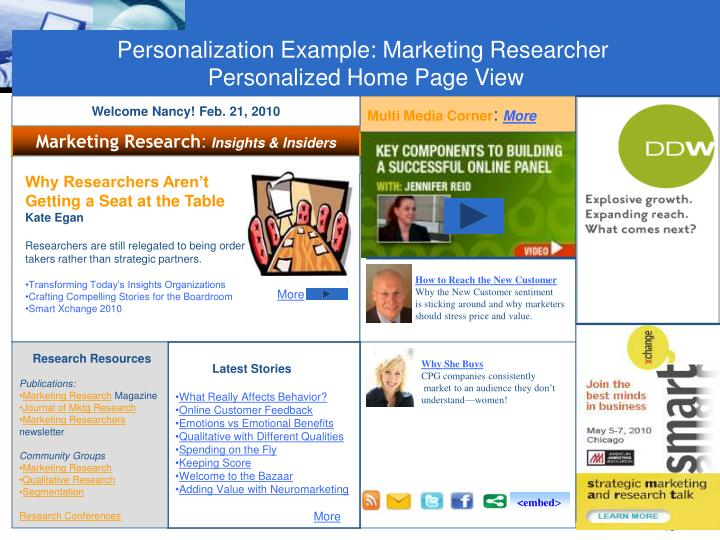 Personalization Example: Marketing Researcher