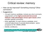 critical review memory