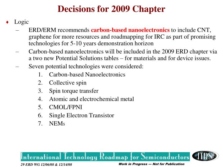 Decisions for 2009 Chapter
