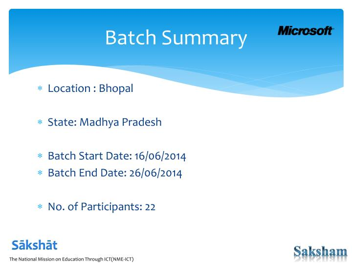 Batch summary