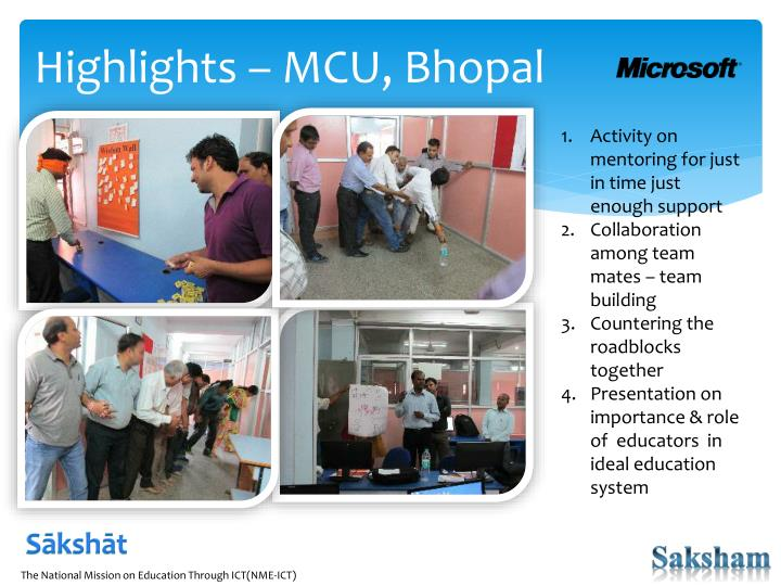 Highlights – MCU, Bhopal