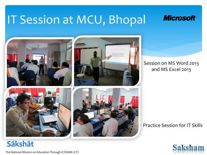 IT Session at MCU, Bhopal