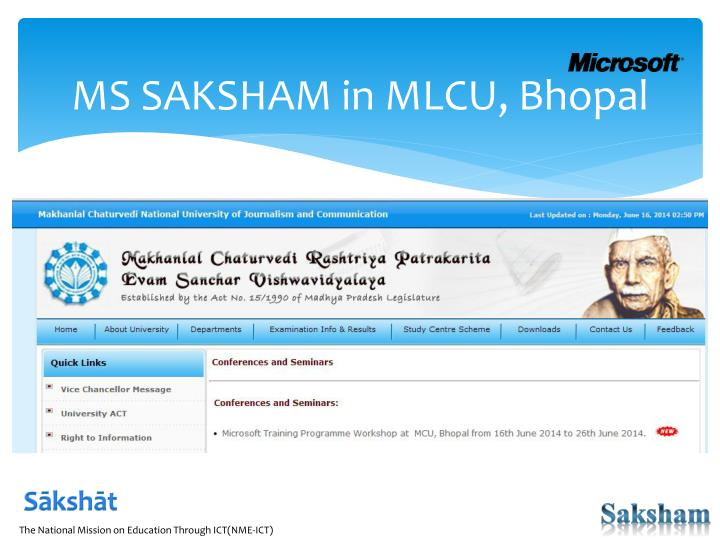 MS SAKSHAM in MLCU, Bhopal