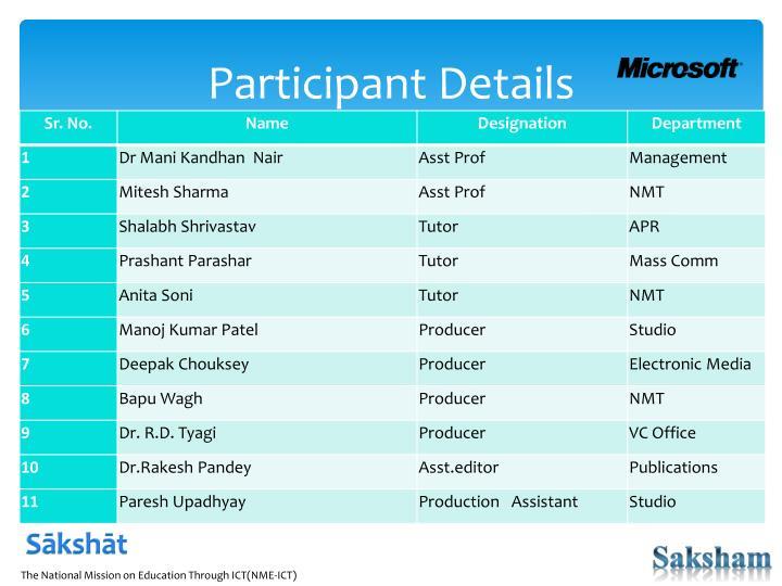 Participant Details