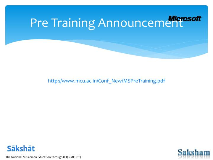 Pre Training Announcement