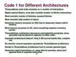 code 1 for different architectures2