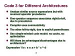 code 3 for different architectures