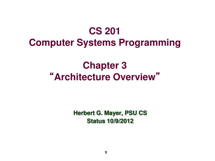 Herbert g mayer psu cs status 10 9 2012