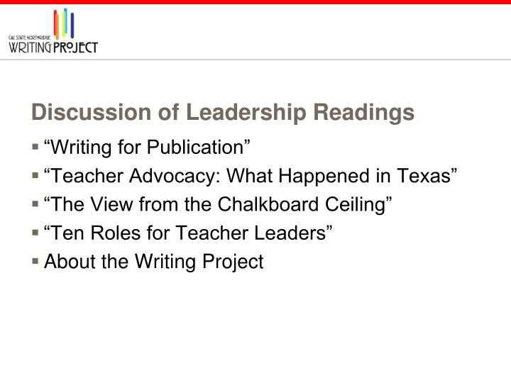 Discussion of Leadership Readings