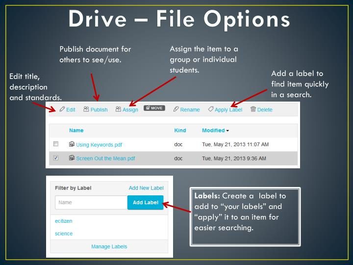 Drive – File Options