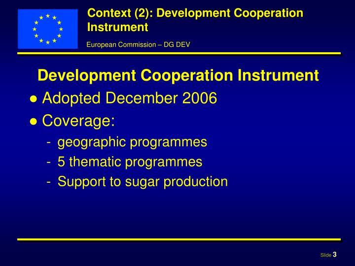 Context (2): Development Cooperation Instrument