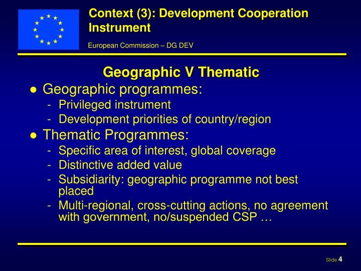 Context (3): Development Cooperation Instrument