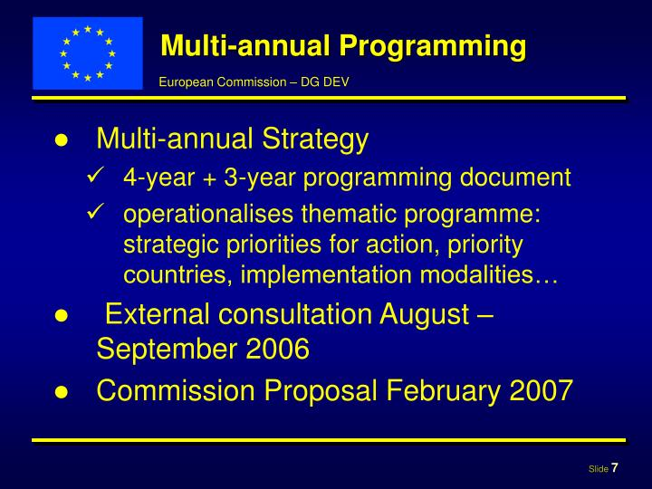Multi-annual Programming