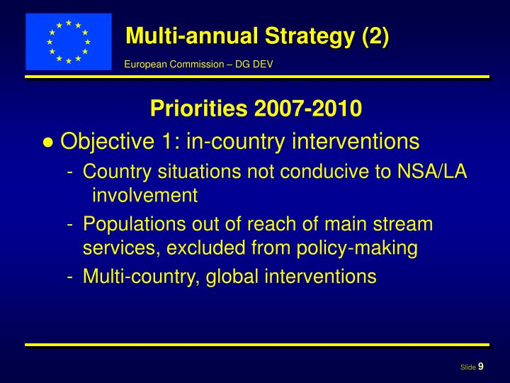 Multi-annual Strategy (2)