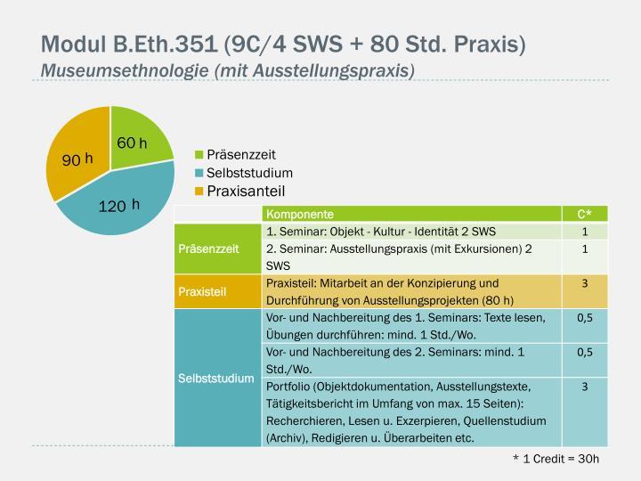 Modul B.Eth.351 (9C/4 SWS + 80 Std. Praxis)