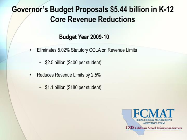 Governor's Budget Proposals $5.44 billion in K-12 Core Revenue Reductions