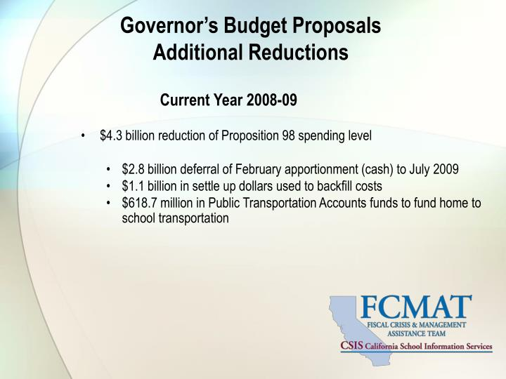 Governor's Budget Proposals