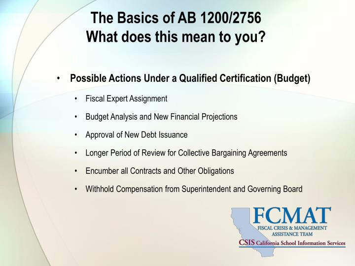 The Basics of AB 1200/2756