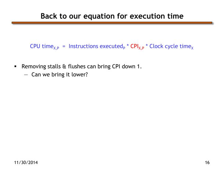 Back to our equation for execution time
