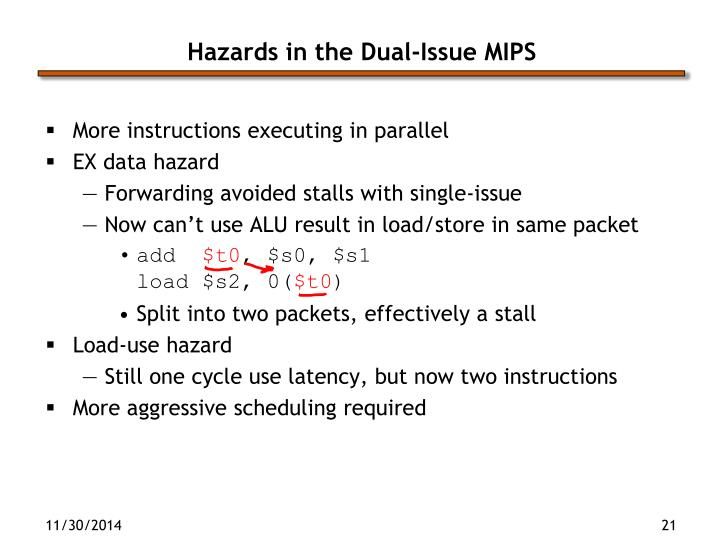 Hazards in the Dual-Issue MIPS