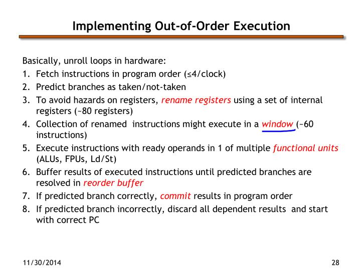 Implementing Out-of-Order Execution