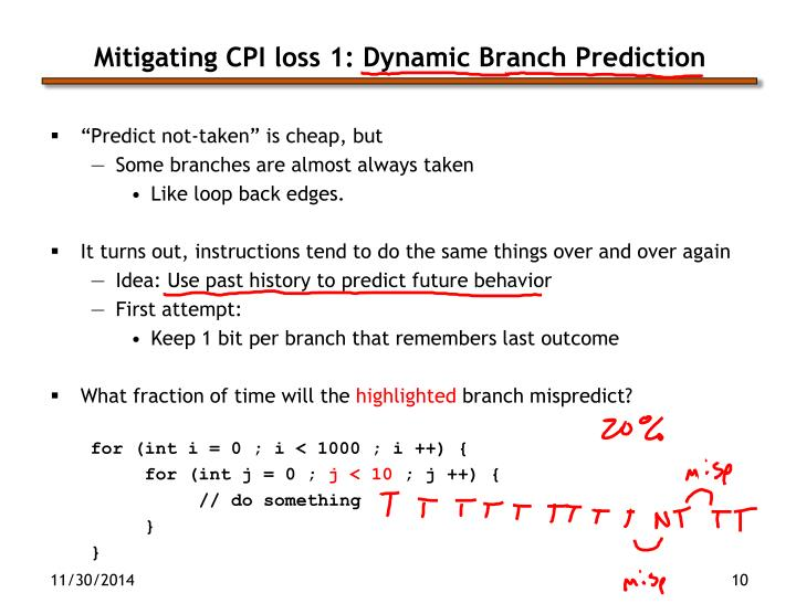 Mitigating CPI loss 1: Dynamic Branch Prediction