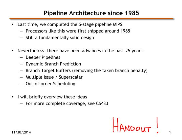 Pipeline architecture since 1985