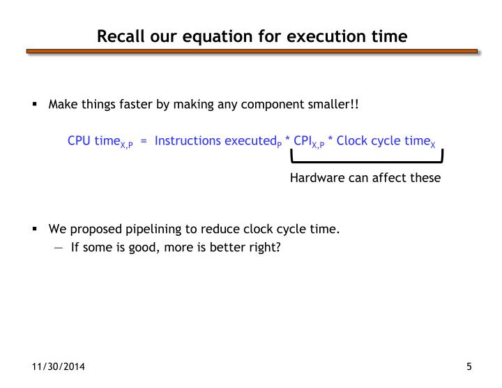 Recall our equation for execution time