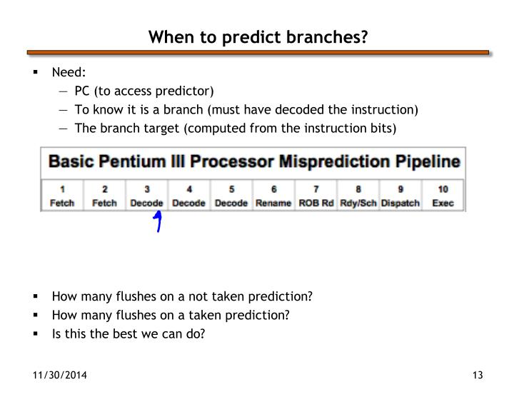 When to predict branches?
