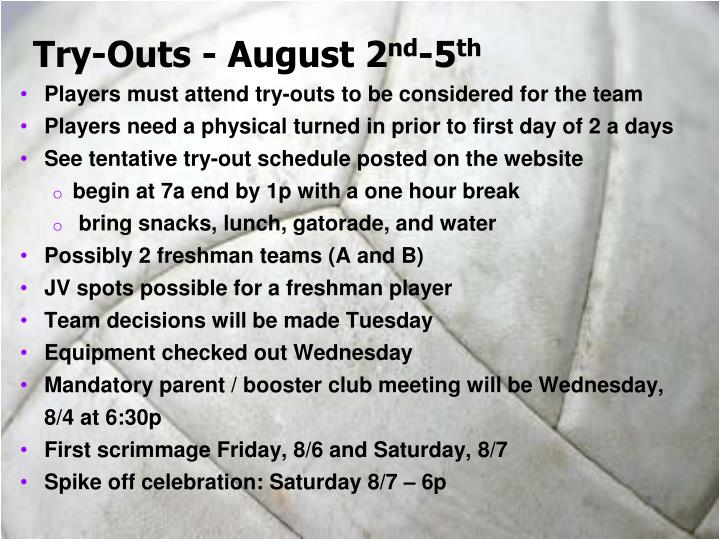 Try-Outs - August 2