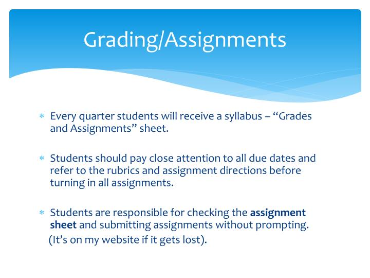 Grading/Assignments