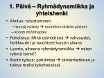 1 p iv ryhm dynamiikka ja yhteishenki