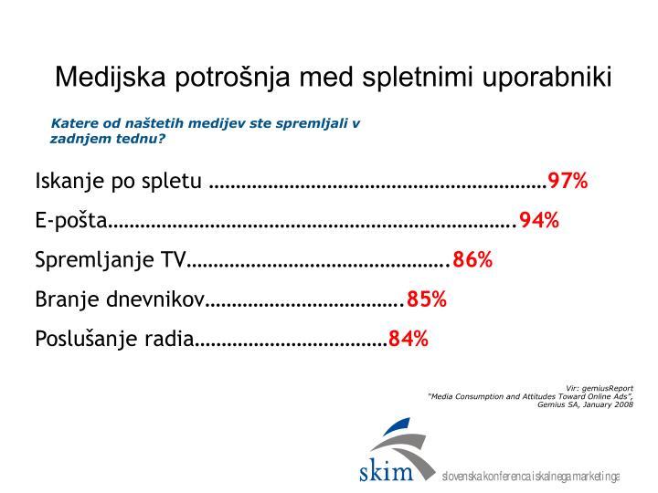 Medijska potrošnja med spletnimi uporabniki