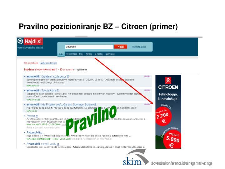 Pravilno pozicioniranje BZ – Citroen (primer)