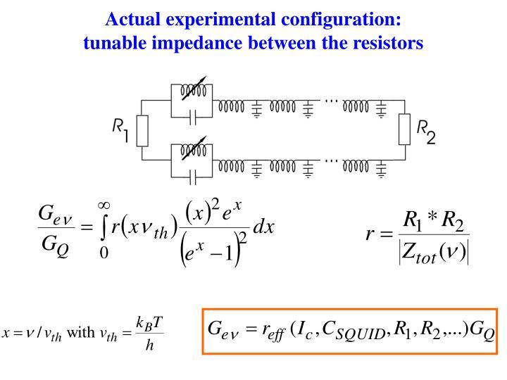 Actual experimental configuration: