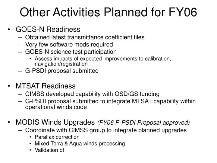 Other Activities Planned for FY06
