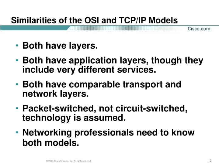 Similarities of the OSI and TCP/IP Models