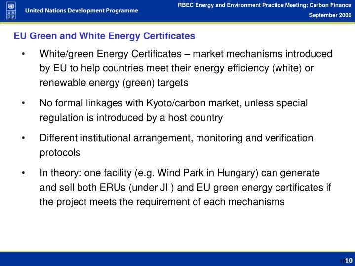 EU Green and White Energy Certificates