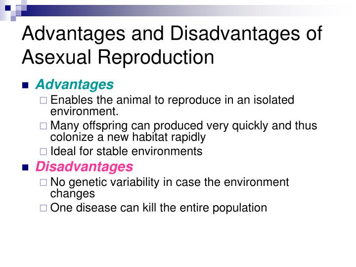 Advantages and disadvantages of asexual reproduction