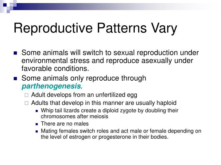 Reproductive Patterns Vary