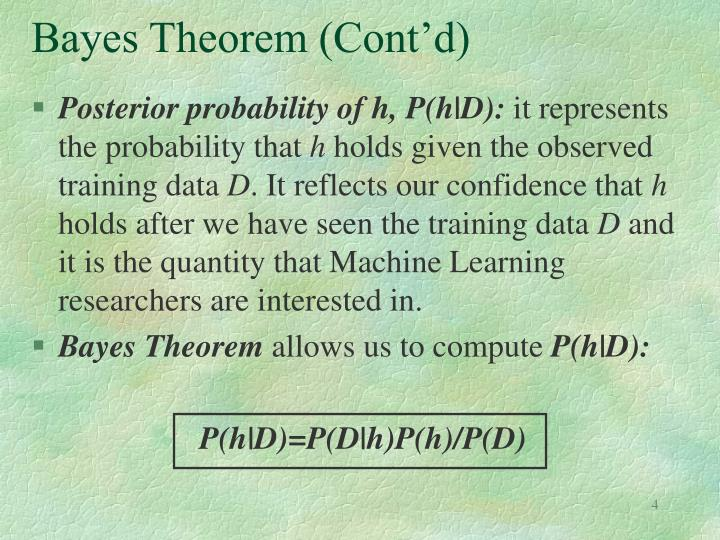 Bayes Theorem (Cont'd)