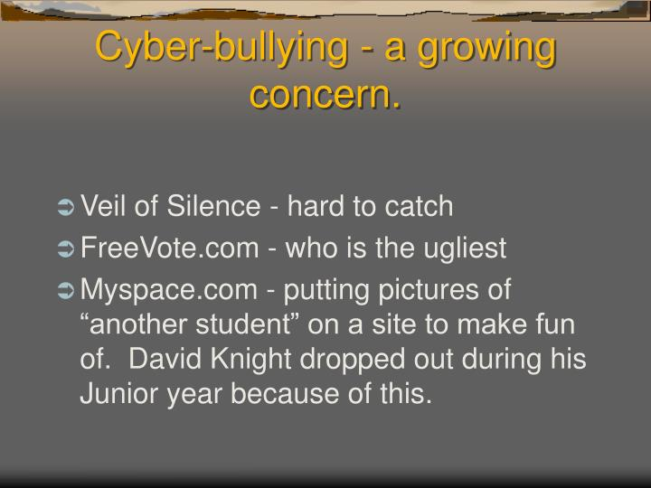 Cyber-bullying - a growing concern.