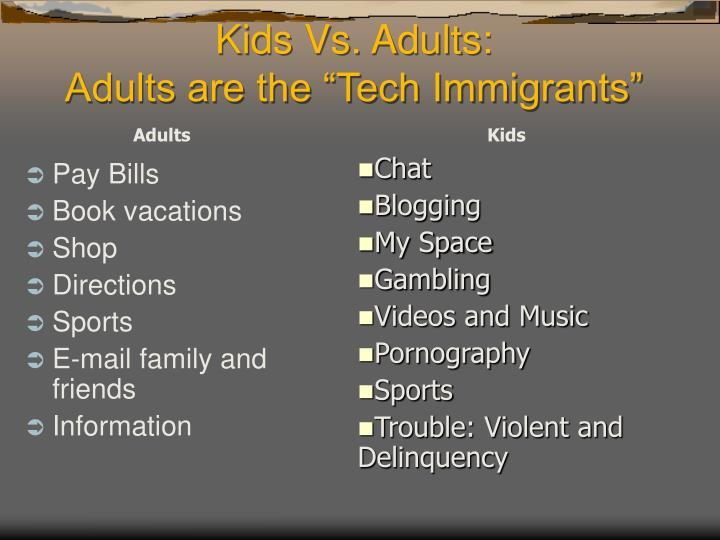 Kids vs adults adults are the tech immigrants