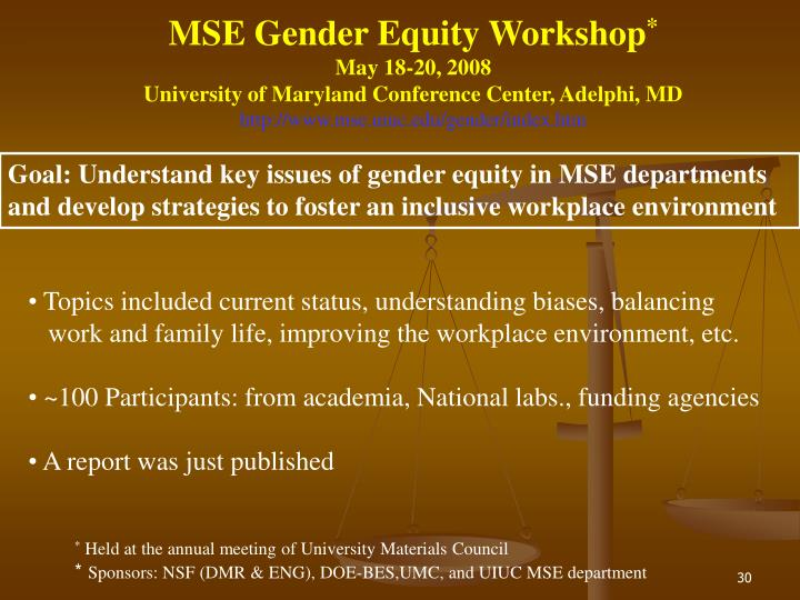 MSE Gender Equity Workshop