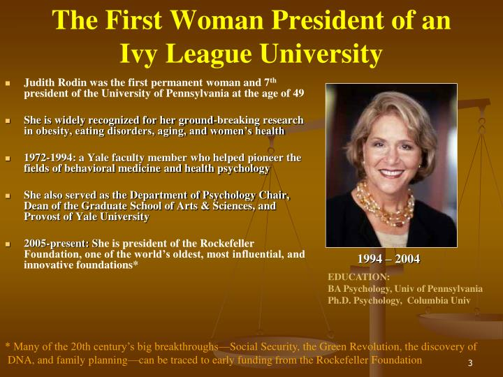 The first woman president of an ivy league university