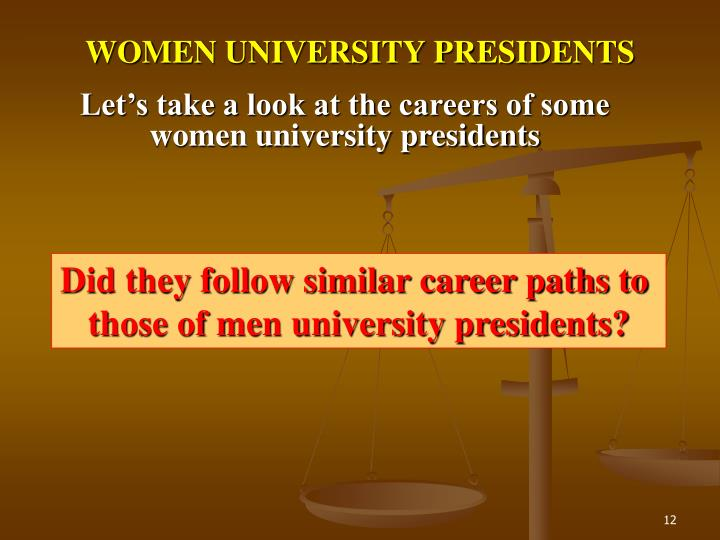 WOMEN UNIVERSITY PRESIDENTS
