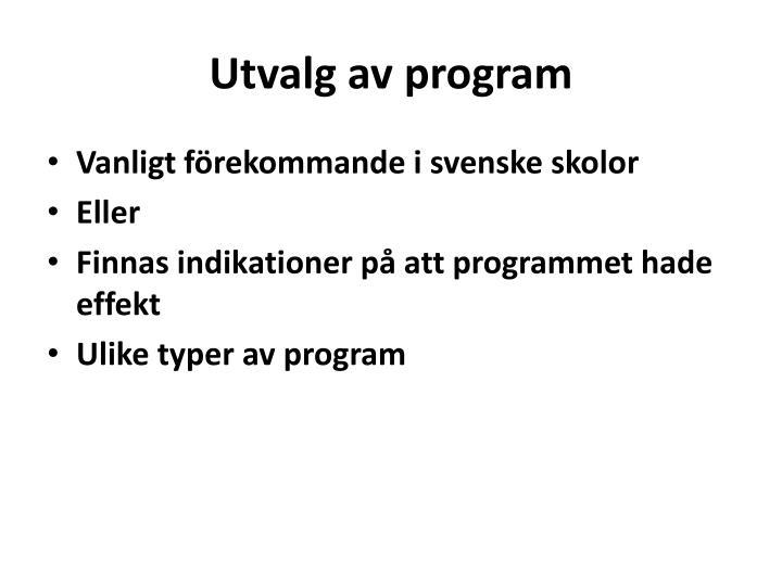 Utvalg av program