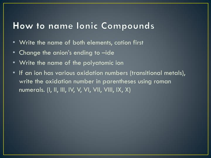 How to name ionic compounds